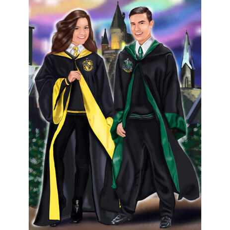 Couple Portrait for Harry Potter Fans with Custom Background - example