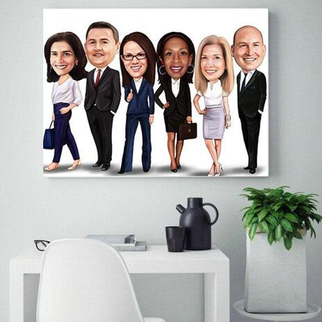 Business Group Caricature on Canvas - example