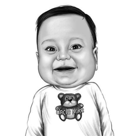 Baby Boy Caricature Portrait from Photo in Black and White Style - example