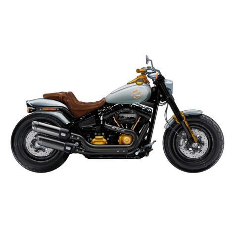 Harley-Davidson Fat Bob Motorcycle Cartoon Portrait Hand Drawn from Photo - example