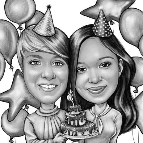 Карикатура  пары держащей торт для подарка на день рождения. - example