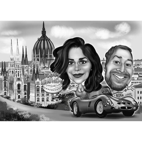 Couple Birthday Caricature in Car with Custom Background - example