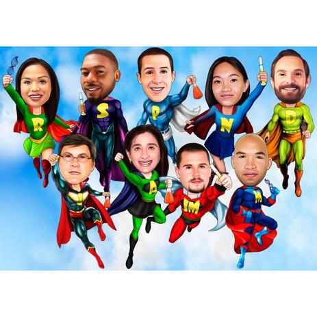 Perekonna superkangelase karikatuur fotodest perekaardile - example