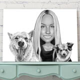 Owner with Pets Caricature on Canvas