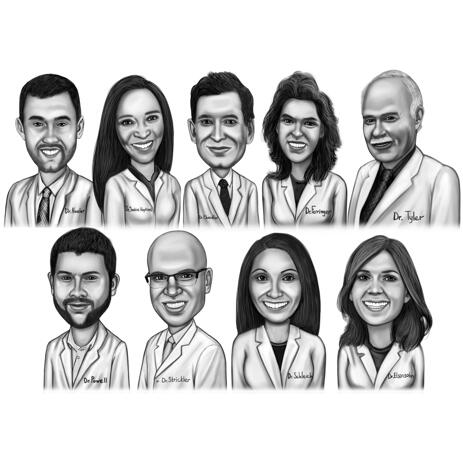 Doctors Group Portrait Drawing from Photos in Black and White Style - example