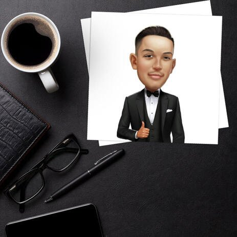 Groom Caricature as Wedding Gift on Poster - example