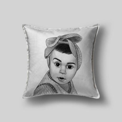 Kid Portrait from Photos as Printed Pillow - example
