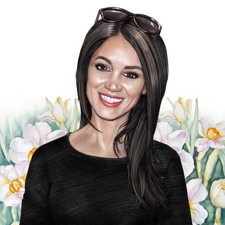 Colored Pencils Portrait Drawing from Photo with Flowers Clipart - example