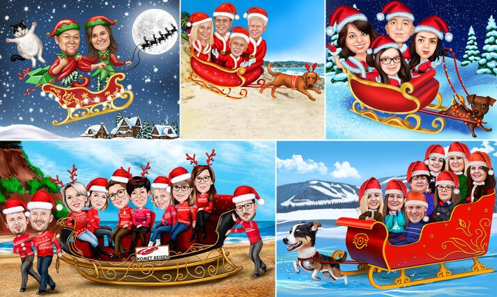 Santa Sleigh Caricature large example