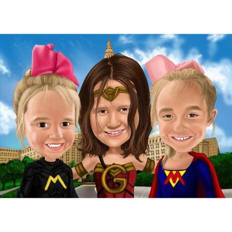 Kids Group Superhero Caricature in Color Style with Custom Background - example