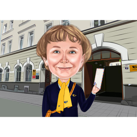 Mail Carrier Woman Caricature from Photo with Post Office Background - example