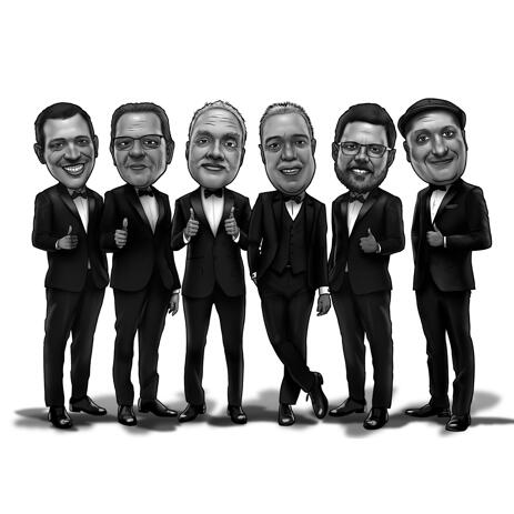 Buddies Group Caricature Gift in Full Body Black and White Style - example