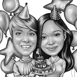 Couple Caricature Holding Birthday Cake for Birthday Gift