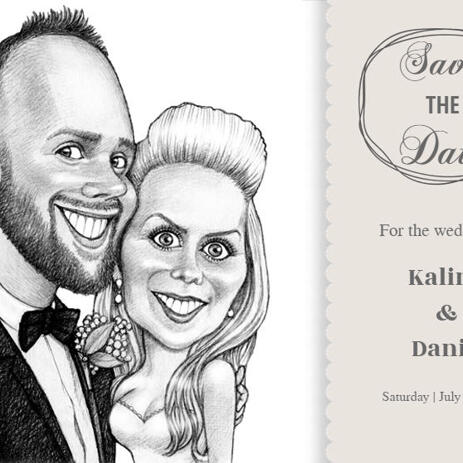 Pencils Portrait of Bride and Groom as Invitations Print - example