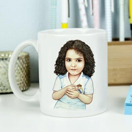 Kid Caricature Drawing Printed as Mug