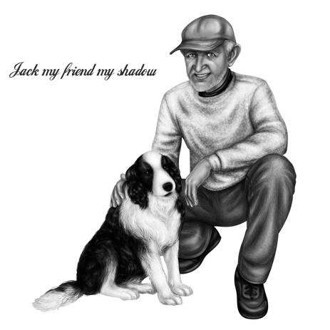 Owner with Dog Portrait in Black and White Style - example