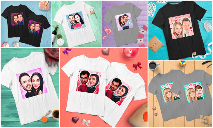 Matching Caricature Tshirts large example