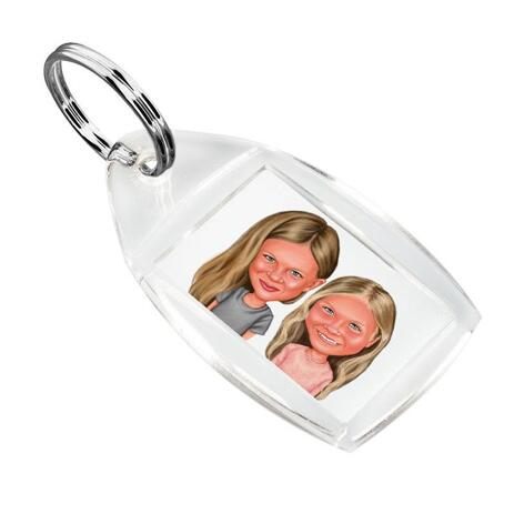 BFF Kid Caricature Printed on Keyrings - example