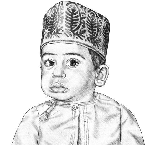 Smuk børneportrættegning i sorte og hvide blyanter - example