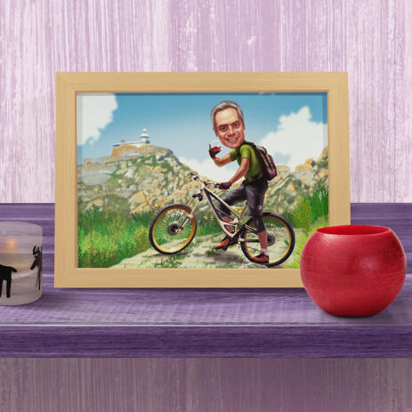 Person on Bicycle Caricature on Poster with Background - example