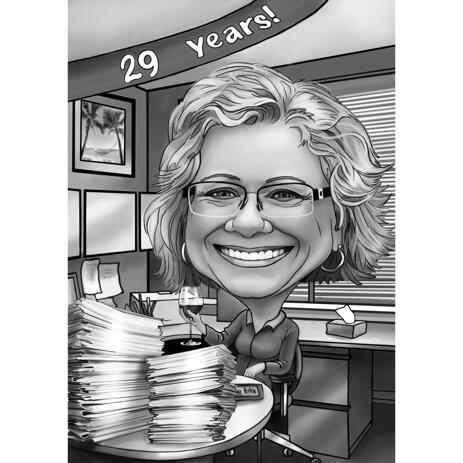 Accountancy Themed Black and White Style Auditor Cartoon Portrait with Custom Background - example