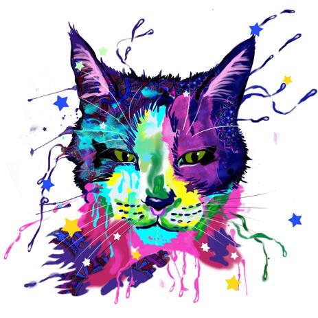 Acuarelă Pisică Pictura Portret - Custom Art Art - example