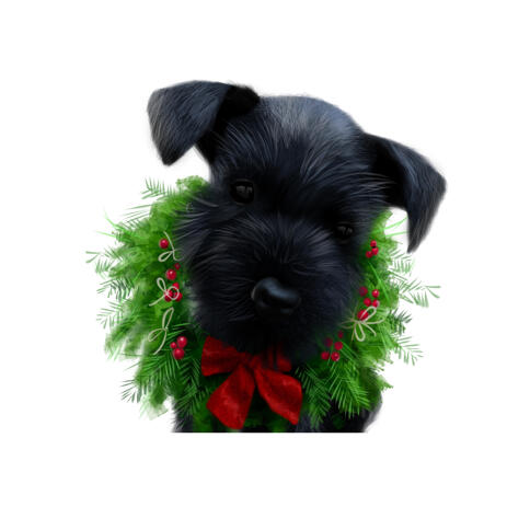 Custom Christmas Themed Dog Caricature Portrait from Photos - example
