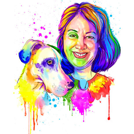 Person with Great Dane Watercolor Cartoon Portrait from Photos - example