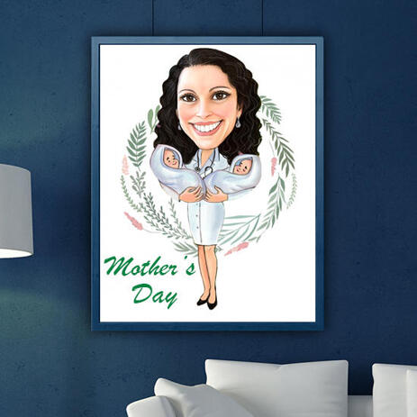 Cartoon Printed on Photo Paper: Custom Mother Day Drawing in Colored Style - example