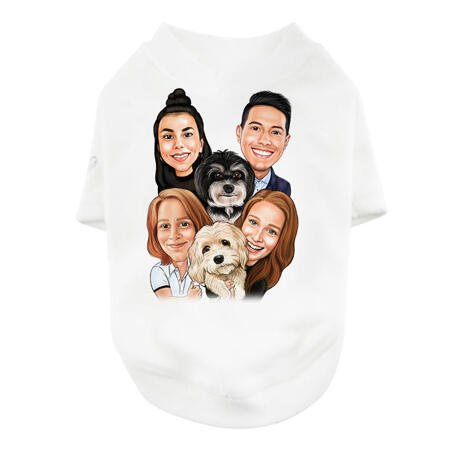 Family with Pets Caricature on Pet Shirt - example