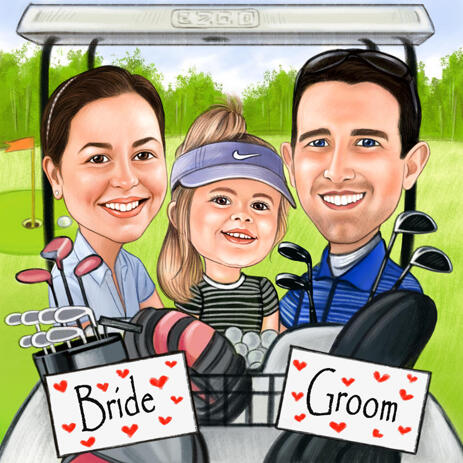 Golf Family Caricature from Photos - example