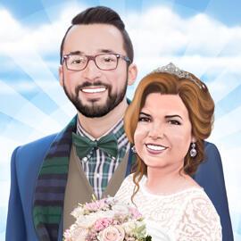 新娘和新郎画象从照片作为结婚礼物