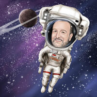 صورة كاريكاتورية مخصصة لرائد الفضاء بأسلوب ملون مع خلفية مجرة