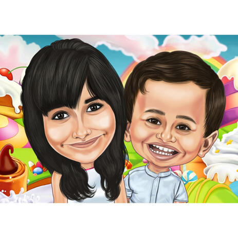 Children Caricature with Colored Background - example