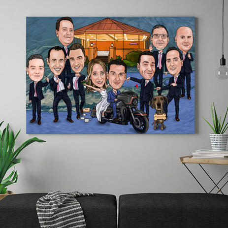 Group Wedding Caricature for Wedding Canvas Gift - example