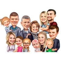 Realistic Family Cartoon Portrait and Group Caricature Drawn by Artists