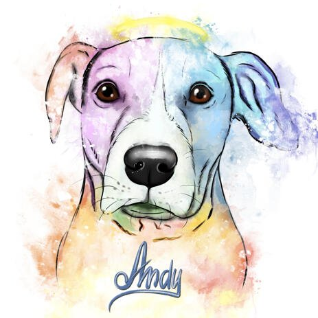 Pet Loss Portrait - Pastel Watercolor Pet Drawing with Halo - example