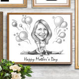 Print on Photo Paper: Personalized Cartoon Drawing for Mother's Day Gift on Photo Paper
