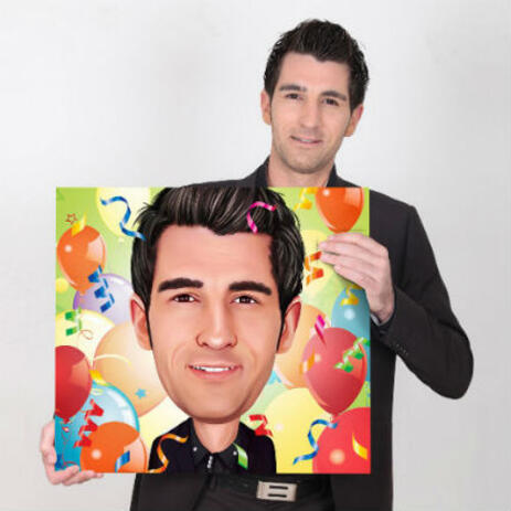 Personalized Canvas Prints: Photo Cartoon Drawing in Colored Pencils Style - example