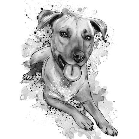 Portrait d'aquarelle de chien en plein corps, style fusain - example