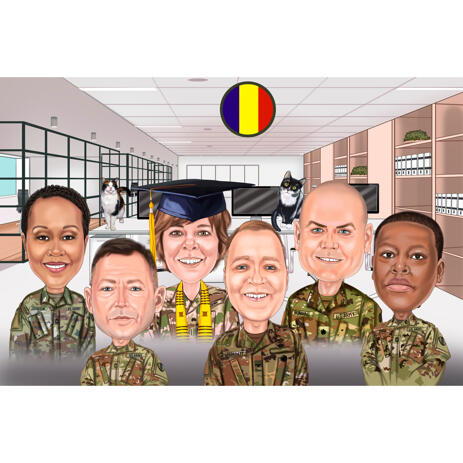 Military Group Caricature in Colored Style with Custom Background - example
