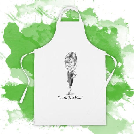 Print on Kitchen Apron: Monochrome Pencils Cartoon Drawing - example