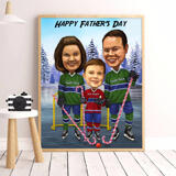 Photo Print: Custom Digital Family Cartoon from Photo on Father's Day