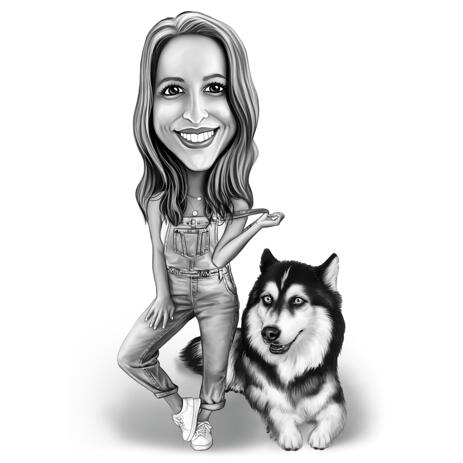 Owner with Dog - Full Body Caricature in Black and White Style - example