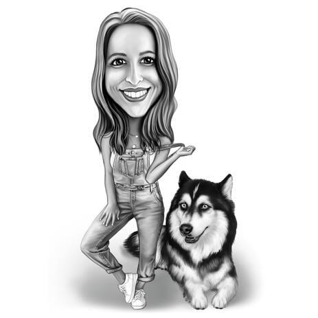 Koeraga omanik - kogu keha karikatuur mustvalges stiilis - example