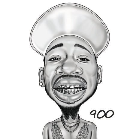 Funny Caricature from Photos in Black and White Style - example