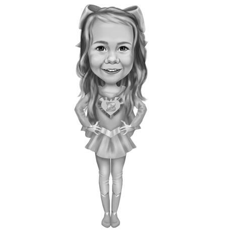 Superhero Kid Caricature in Full Body Monochrome Style Custom Drawn from Photos - example