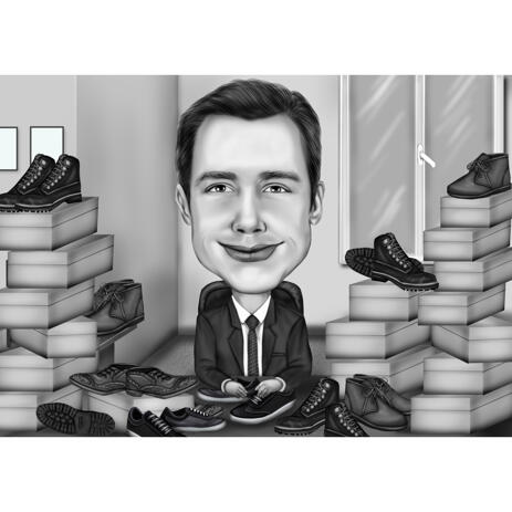 Custom Sales Representative Caricature of Any Products and Services in Black and White - example