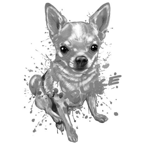 Full Body Black and White Chihuahua Graphite Portrait from Photos - example
