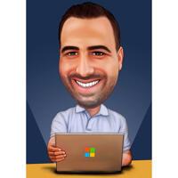 Huvud och axlar karikatyr av personen med bärbara datorn på enfärgad bakgrund